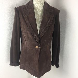 Peter Nygard Brown Suede Leather Jacket Sweater PM